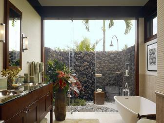 Contemporary Bathroom With Outdoor Shower