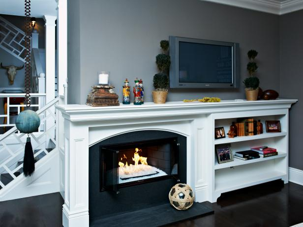 Gray Living Room with White Mantel and Built-In Bookshelf