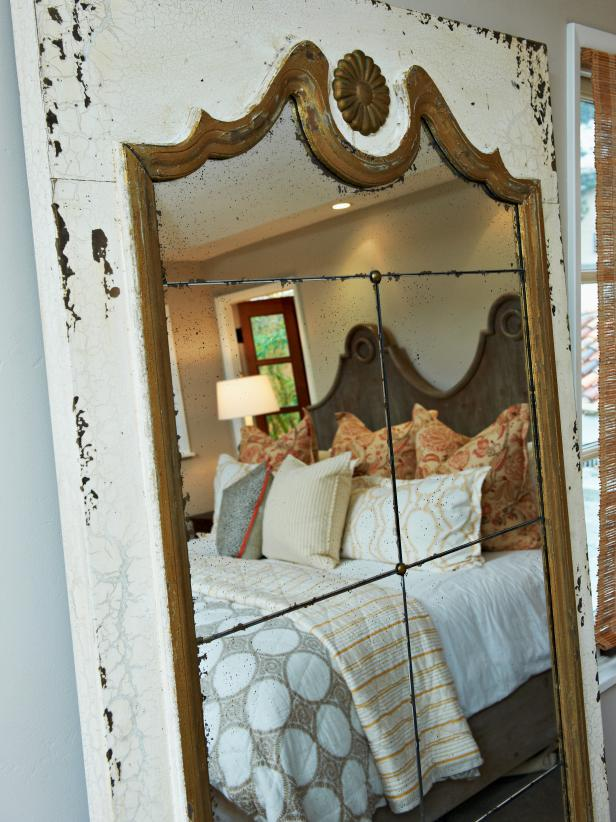 Off White Vintage Mirror in Cottage Bedroom