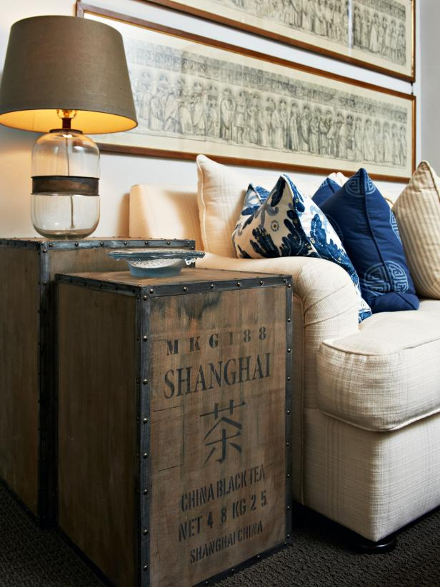 Neutral Living Room With Vintage Crate Side Tables
