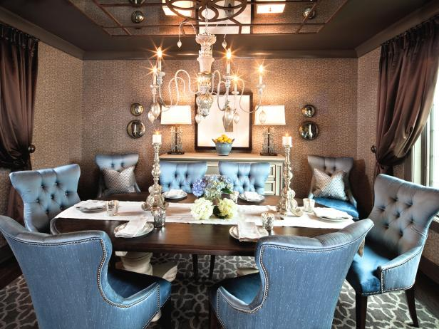 Brown and Blue Dining Room With Chandelier