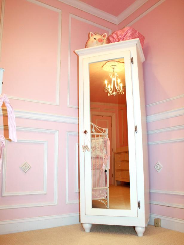 Pink Nursery With Wardrobe