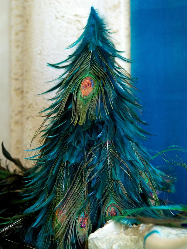 Glamorize Christmas with a Peacock-Feathered Holiday Tree