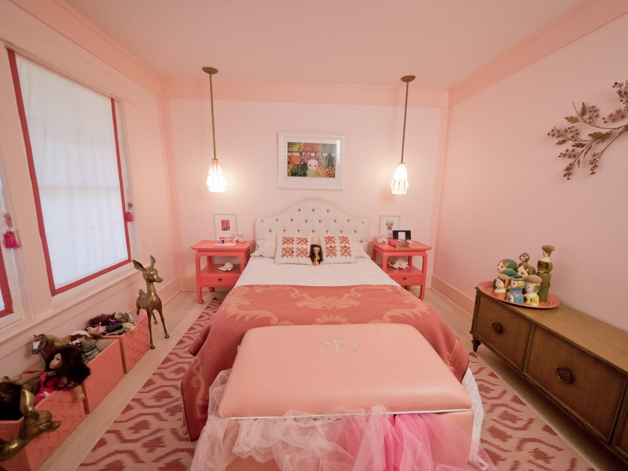 Bedroom color design for girls - Girly Retro Inspired Pink Bedroom