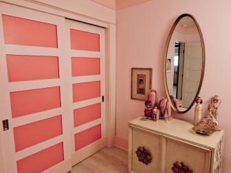 Pink Bedroom Closet and Vanity