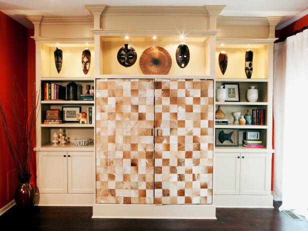 Ethnic decor surrounding tile bookshelf