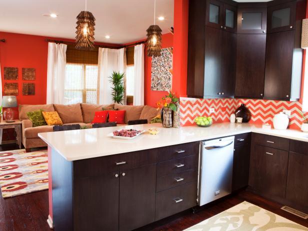 Orange Living Room & Kitchen With Chevron Backsplash