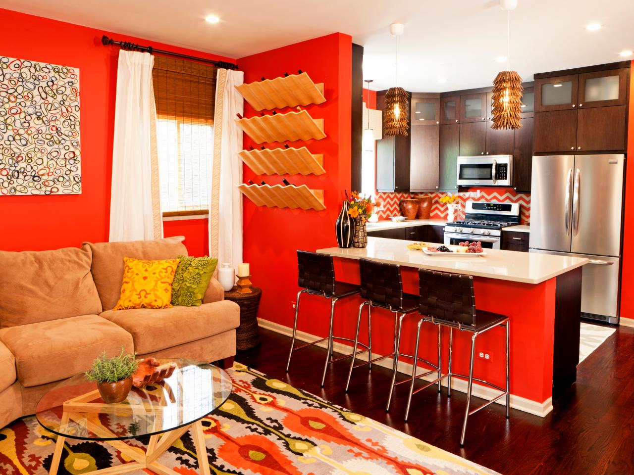 orange living room pics - rize studios