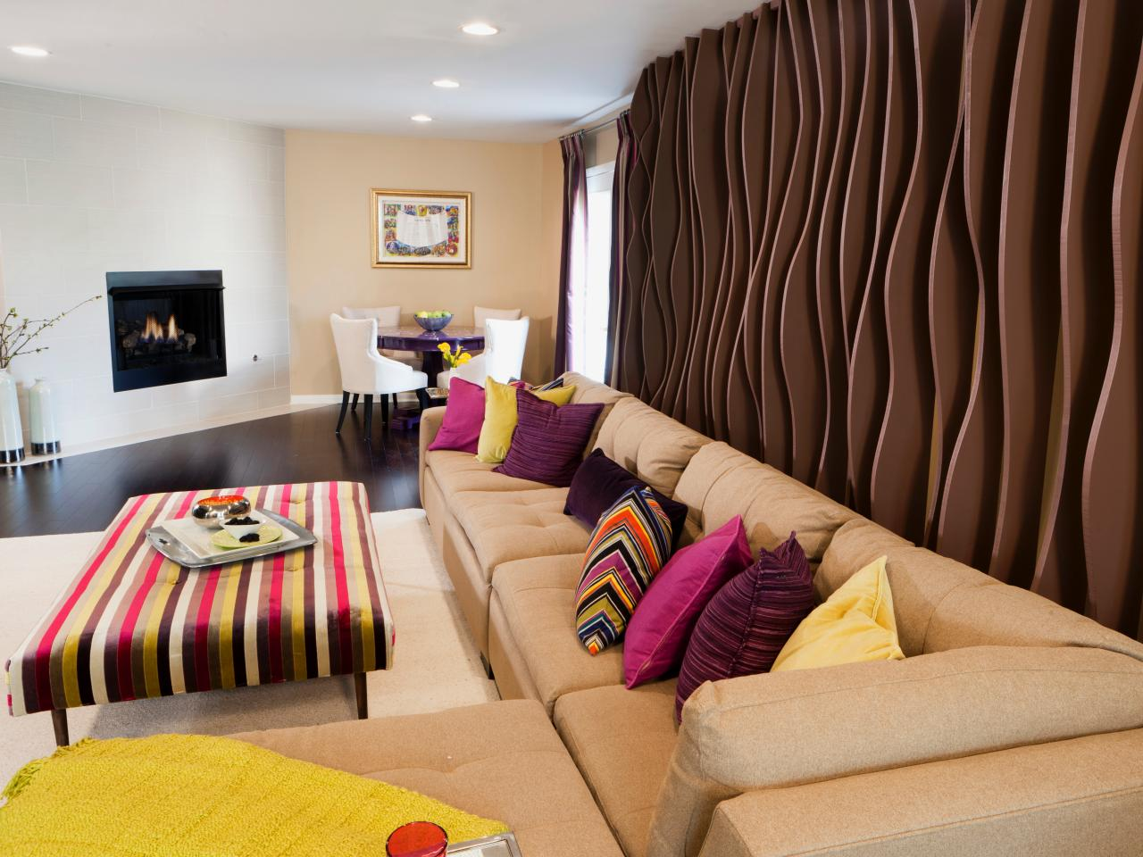 Contemporary Living Room With Wall Treatment. Photo Page Hgtv Part 13