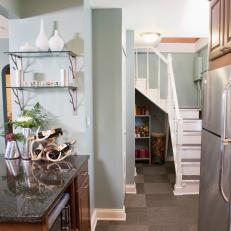 Under Stairs Kitchen Storage discover small spaces design ideas on house design food and travel by house Small Blue Kitchen With Under Stair Storage