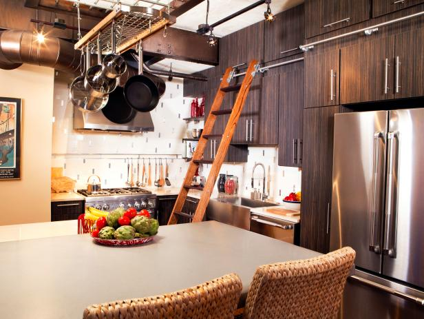 Eclectic Kitchen with Dark Wood and Stainless Steel