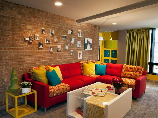 Eclectic Living Room With Red Sectional