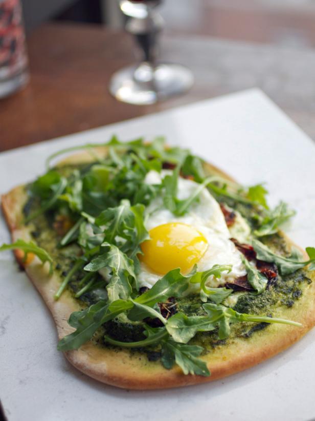 green eggs and dam flatbread with eggs tomatoes and arugula recipe hgtv
