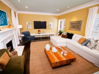 Yellow Living Room With Beach-Inspired Accents