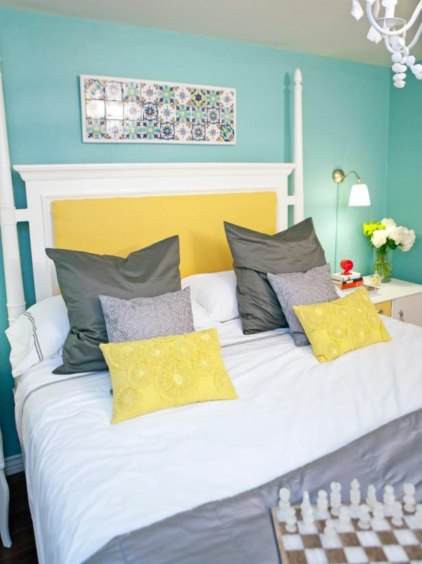 Light Blue Bedroom With White & Yellow Four-Poster Bed