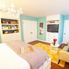 Robin Egg Blue Master Bedroom With Yellow Rug