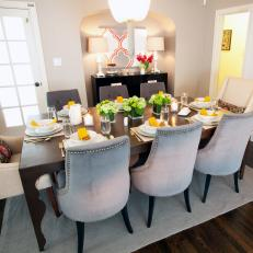Formal Dining Room With Glamorous Touches