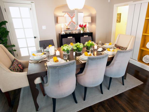 Formal Dining Room With Orange Accents and Custom Table