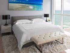 Contemporary Gray Bedroom With Ocean View