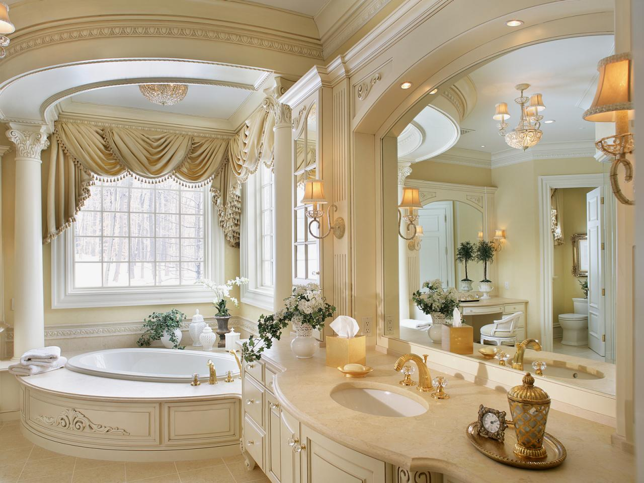 Traditional Elegant Master Bathroom Peter Salerno HGTV - Gold bathroom light fixtures for bathroom decor ideas