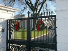 Wreaths Decorate White House Gate Entrance