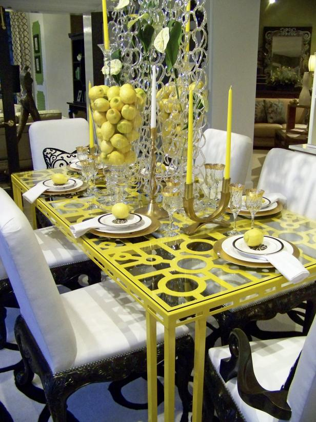 Dining Room Table Set With Yellow Decor