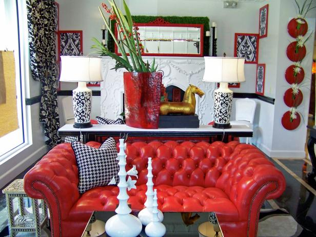 Black, White and Red Living Room