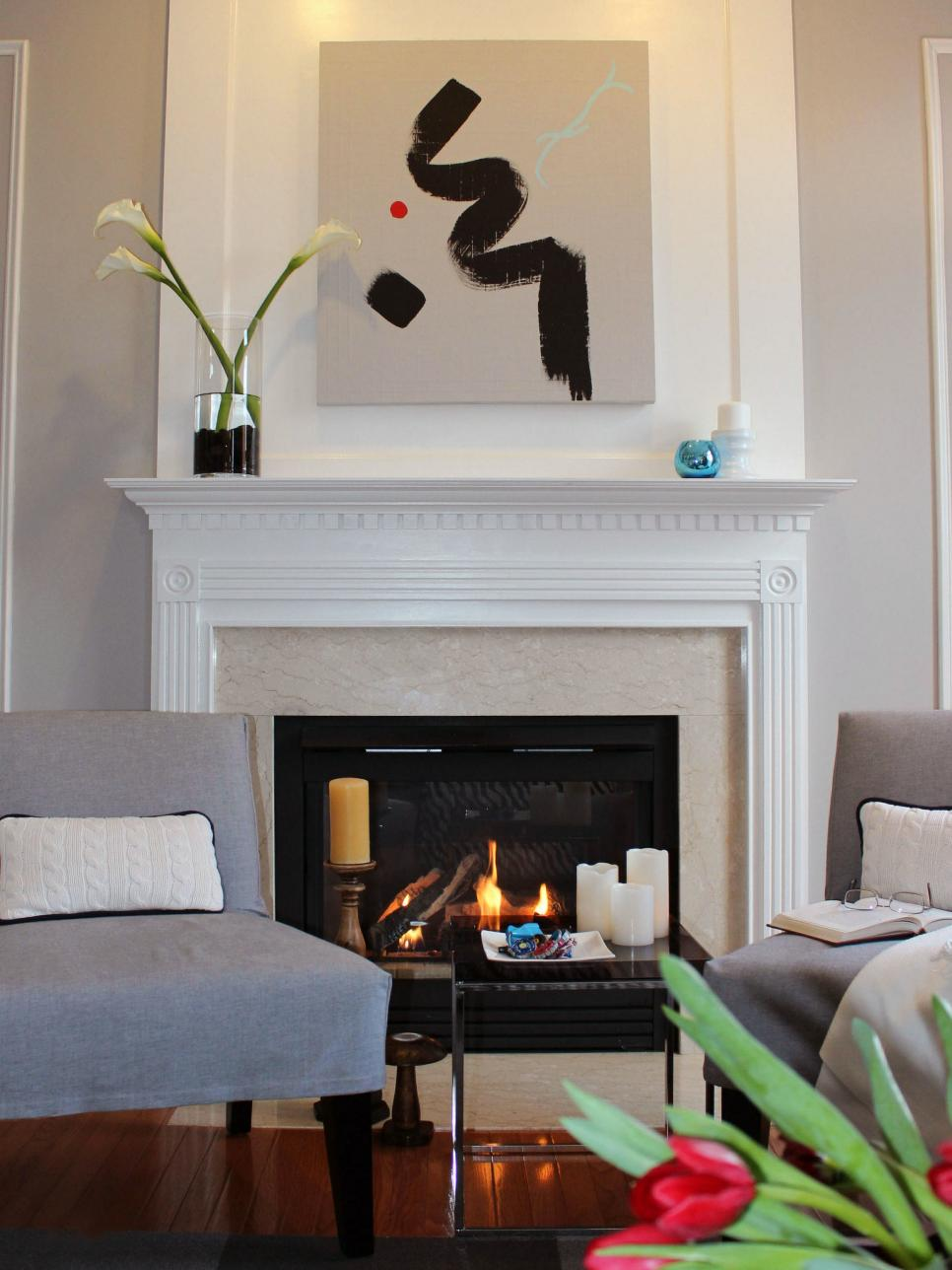 Modern White Marble Surround