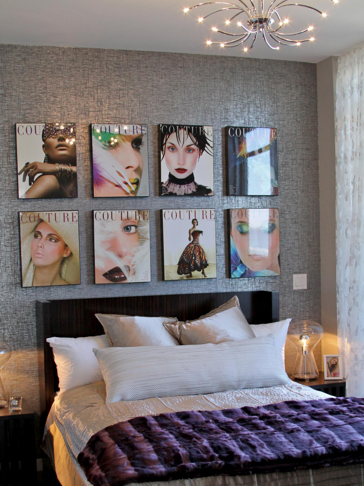 urban glam bedroom with magazine art this fashion inspired bedroom