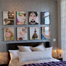 Urban Glam Bedroom With Magazine Art
