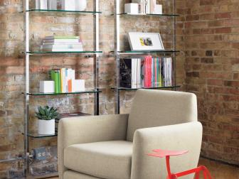 Brick Living Room With Modern Shelves