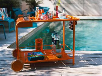 Stocked Bar Cart by the Pool