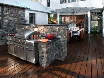 Rustic Deck with Grill and Outdoor Dining Area