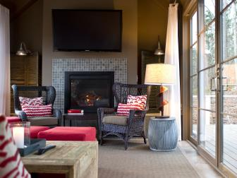 Living Area With Neutral Walls and Red Accents