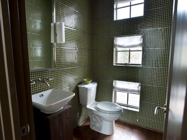 Green Tiled Bathroom With Three Windows and Rustic Modern Vanity