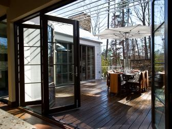 Glass Patio Doors to Barbecue Courtyard