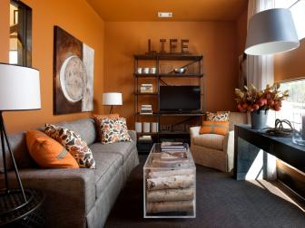 Contemporary Orange Retreat Room
