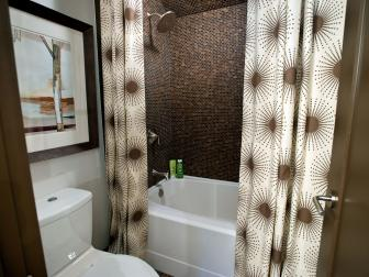 Contemporary Bathroom With Brown Mosaic Tile Wall