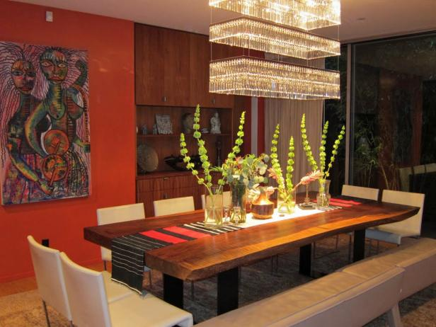 Red Eclectic Dining Room With Modern Chandelier