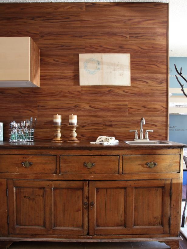 Buffet Table and Wood Walls
