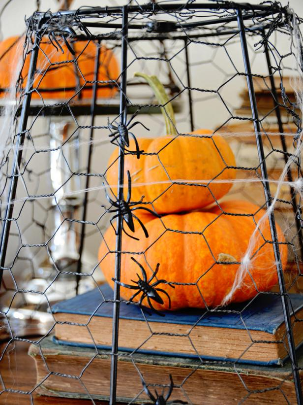 Repurposed chicken wire creates a cage around pumpkins and a place for spiders to climb.