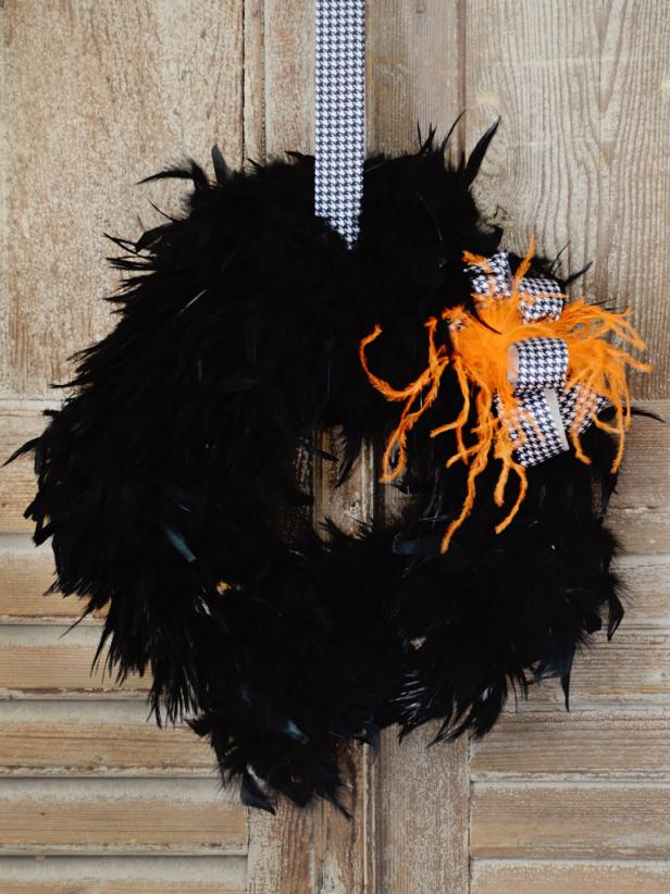 How to make a halloween feather wreath hgtv - Interesting diy halloween wreaths home ...