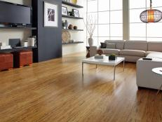 Living Room With Bamboo Flooring