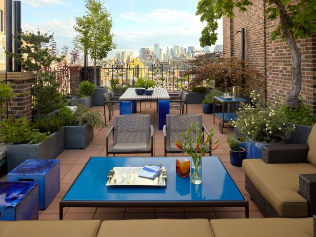 Rooftop Lounge with Blue Accents