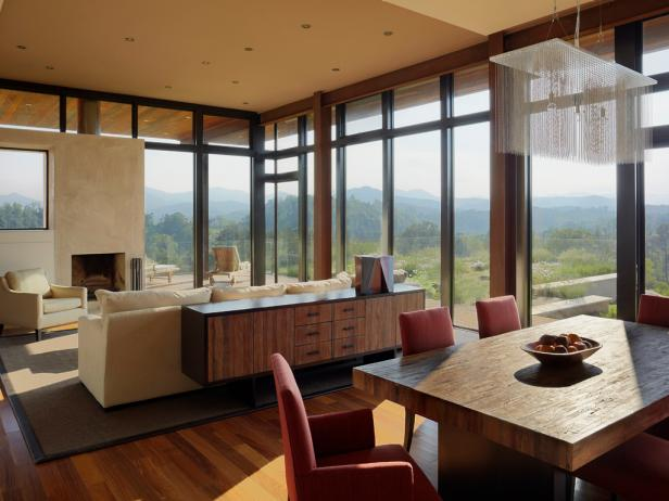 Warm Open Room with Mountain View