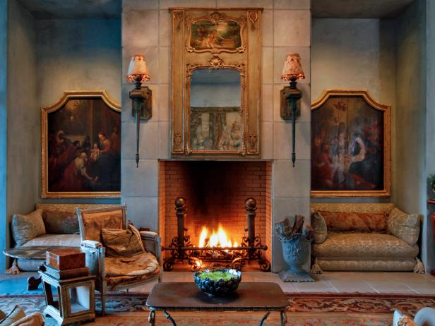 Antique Fire-Lit Living Room