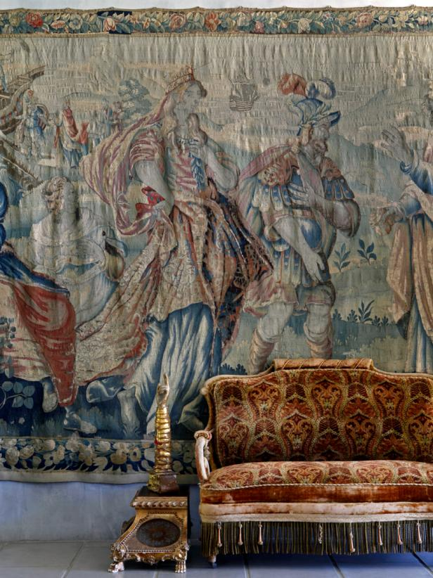 Wall Tapestry and Antique Sofa