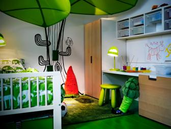 Boy's Green Bedroom With Playful Accents