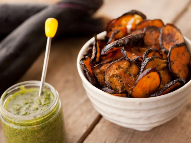 Eggplant Chips With Cilantro Pesto