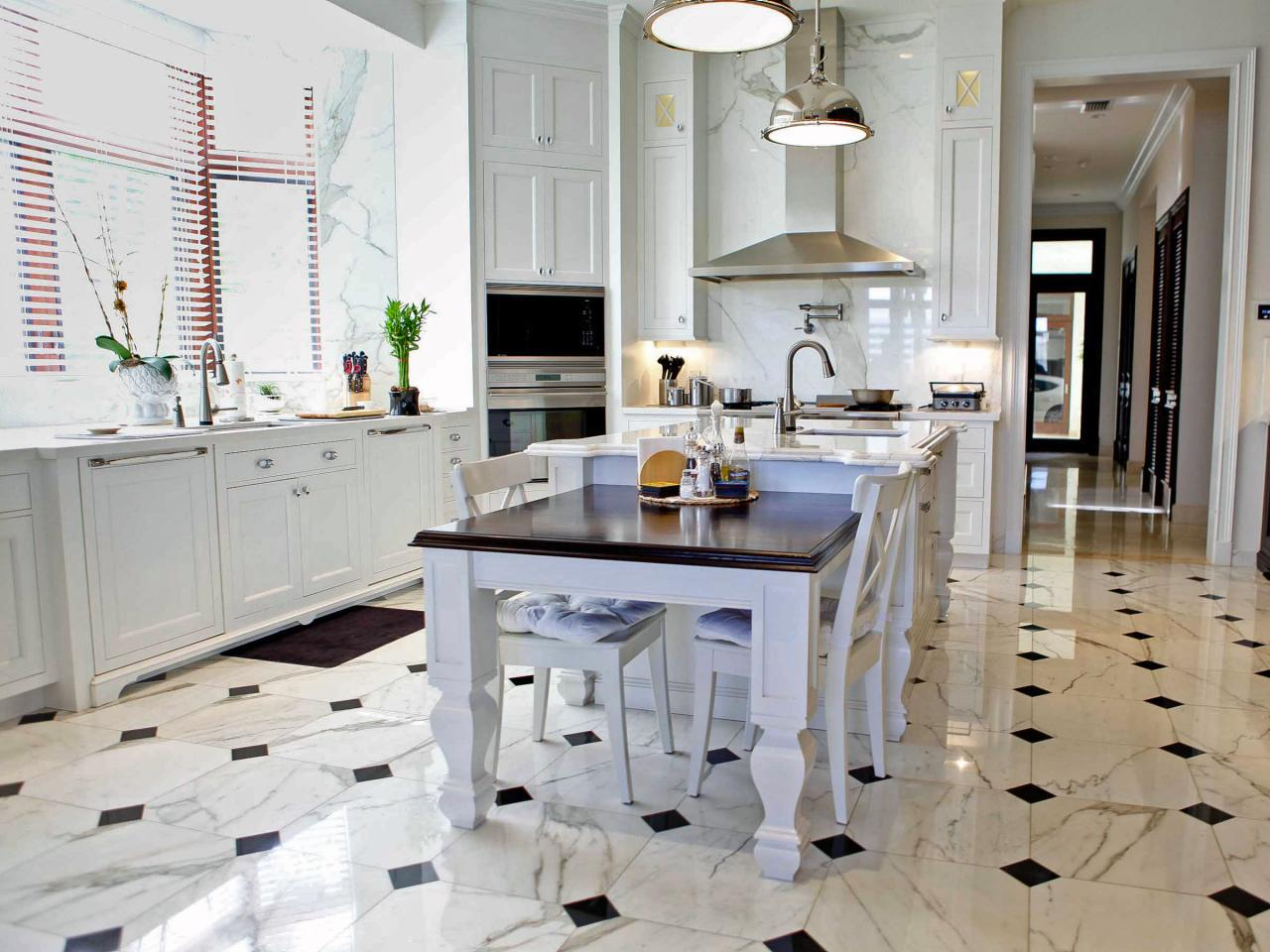 black and white floor tile kitchen. Related To  Floors Marble Stone Maintenance Elegant Transitional Kitchen with Black and White Flooring What You Should Know About DIY